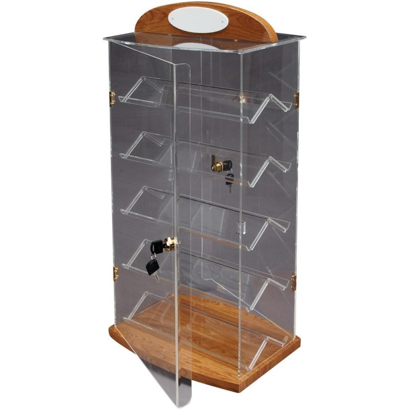 5-Level Acrylic & Beechwood Showcases W/Locking Doors