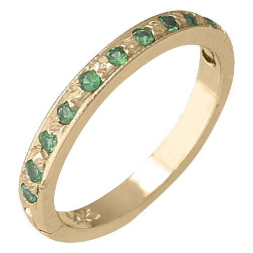 14K Yellow Gold Green Garnet (Tsavorite) Toe Ring