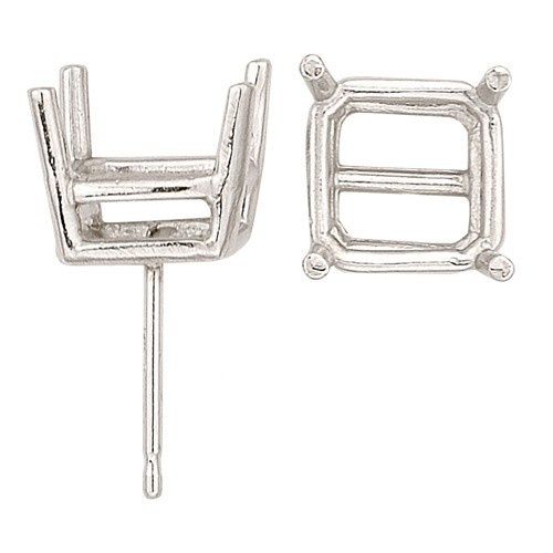 14K White Double Wire Princess-Cut Friction Back Earring W/ Round Prongs