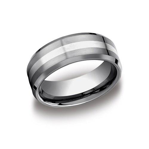 Tungsten & 18K White Gold Wedding Band 8 Mm Wide