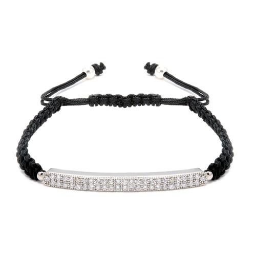 Silver 2 Row Bar With Cubic Zirconia Macrame Bracelet