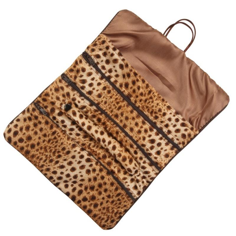 Jewelry Roll In Safari Leopard Print, 11 X 8.13 In