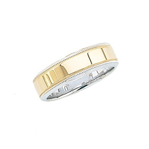 14K Gold 2-Tone Wedding Band W/ Milgrain Edges 7 Mm