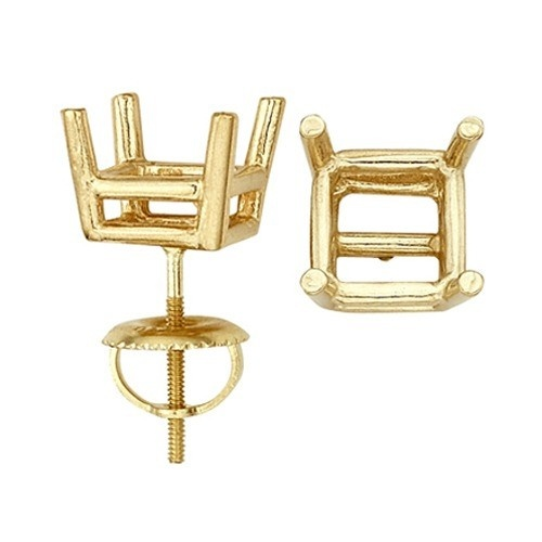 14K Yellow Double Wire Princess-Cut Screw Back Earring W/ Round Prongs