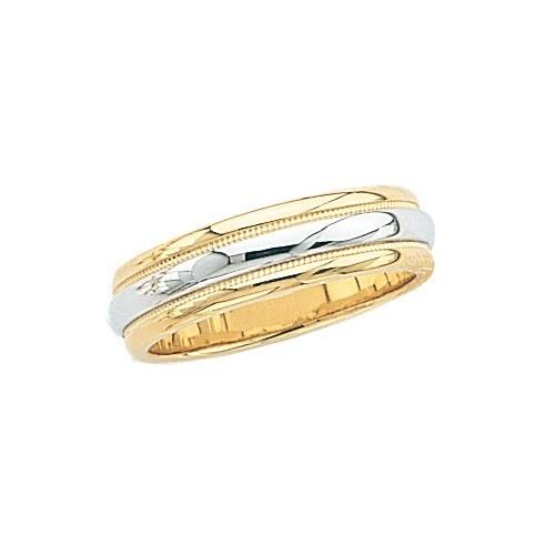 14K 2-Tone Gold Wedding Band W/ Milgrain Edge 6 Mm
