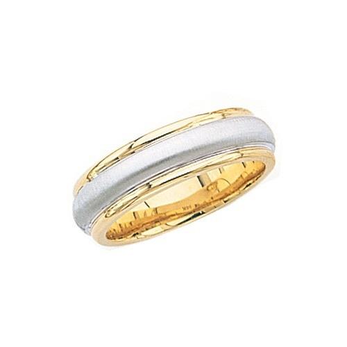 14K 2-Tone Gold Wedding Band W/ Brushed Center & Milgrain 7 Mm