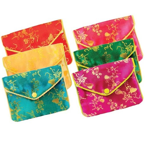 Zippered Pouches In Assorted Brocades