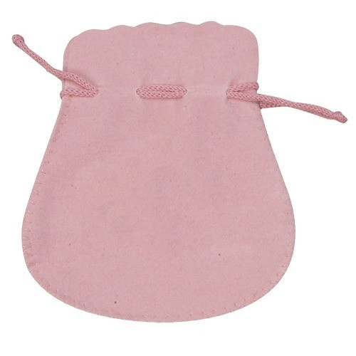 Microsuede Pouches W/Exposed Drawstring In Rose Pink