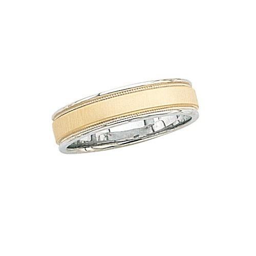 14K Gold 2-Tone Wedding Band W/ Brushed Finish & Light Milgrain 6 Mm