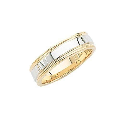 14K 2-Tone Gold Wedding Band W/ Milgrain 6 Mm
