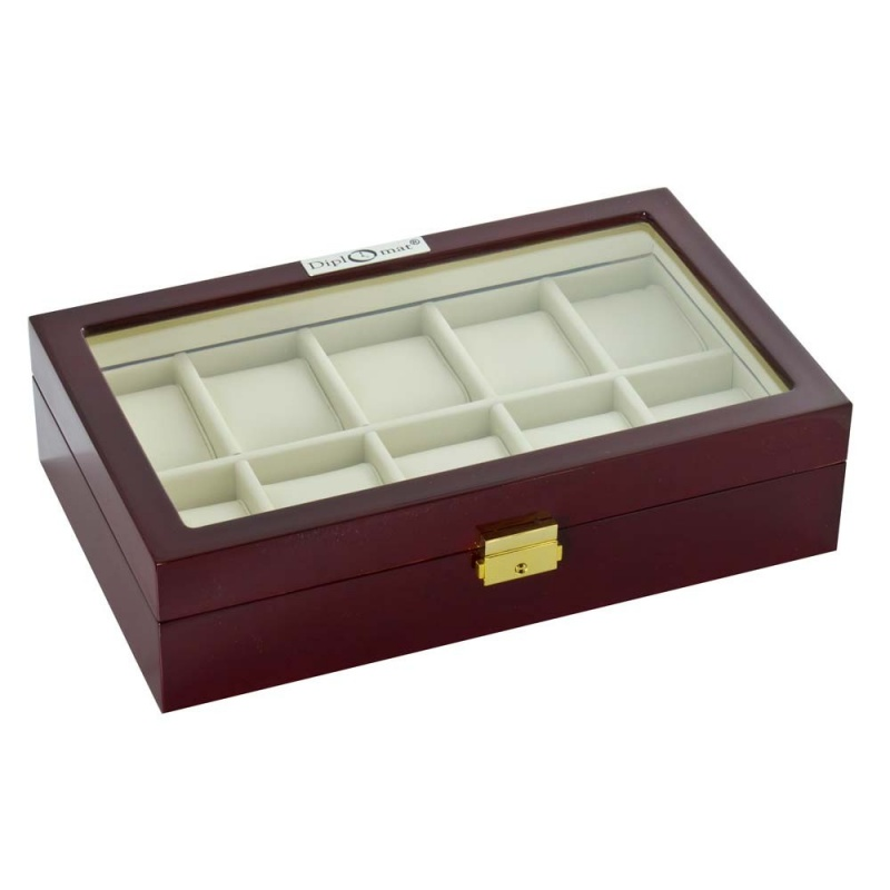 """Diplomat """"Estate"""" 10-Watch Glass-Top Cases In Mahogany"""