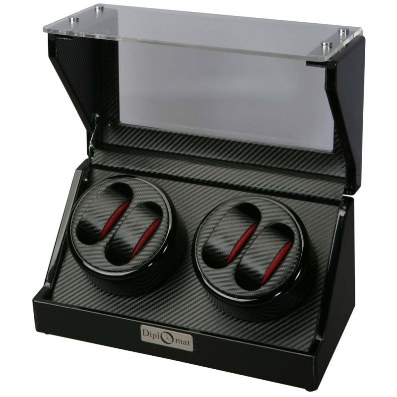 """Diplomat """"gothica"""" 4-watch Winder In Bold Black & Red"""