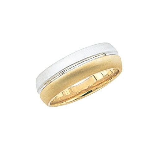14K 2-Tone Gold Wedding Band Brushed Finish 7 Mm