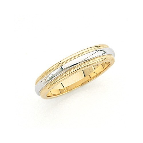 14K Gold 2-Tone Wedding Band W/ Milgrain 5 Mm