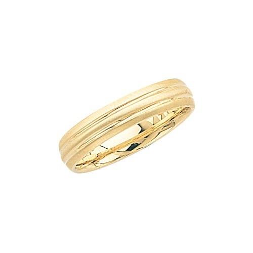 14K Yellow Gold Wedding Band W Brushed Sides & Shiny Center 6 Mm