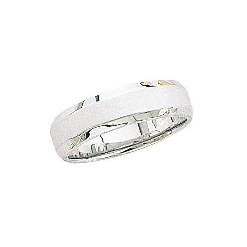 14K White Gold Wedding Band W/ Brushed Center & Beveled Edges 6 Mm