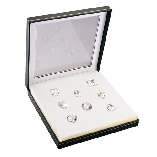 Set Of 8 Large Fancy White Genuine Cubic Zirconia In Case (250 Ct. Weight)