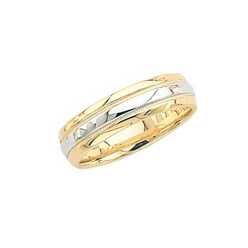 14K Gold 2-Tone Wedding Band W/ Milgrain Center 6 Mm