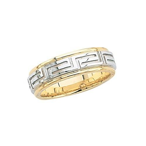 14K Gold 2-Tone Wedding Band W/ Maze Design 6 Mm