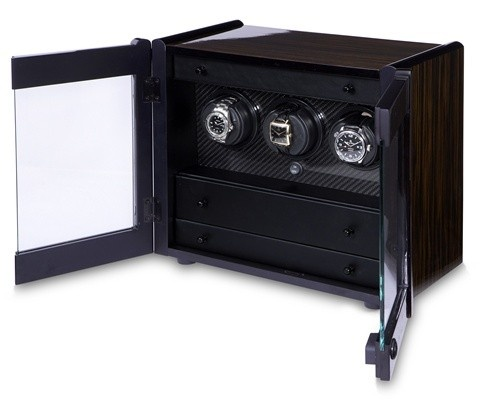 "Orbita ""avanti"" Self-programming 3-watch Winder In Macassar Ebony & Carbon Fiber"