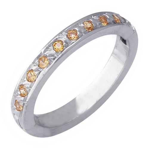14K White Gold Toe Ring W/ Yellow Sapphire