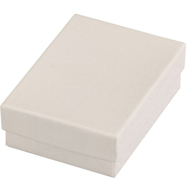Cotton-Filled Gift Box In Embossed White Swirl