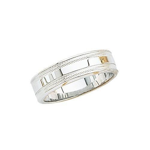 14K White Gold Wedding Band W Shiny Center & Milgrain Sides 6 Mm