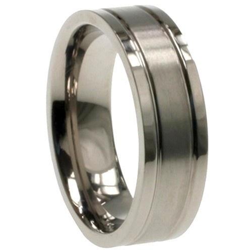 Titanium Ring W/ Combination Matte/Shiny Polish Comfort Fit