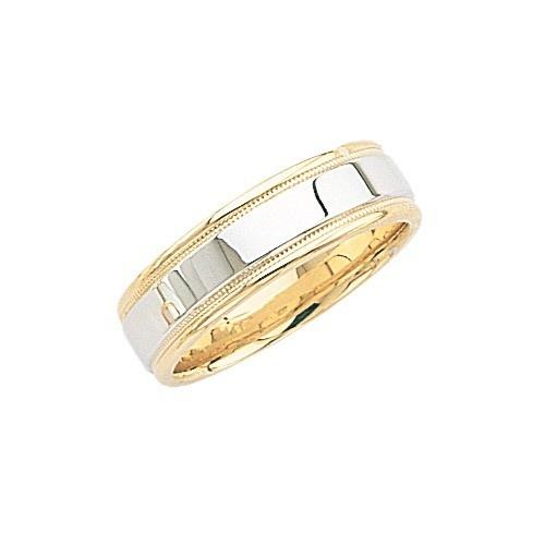 14K 2-Tone Gold Wedding Band W/ Light Milgrain 6 Mm