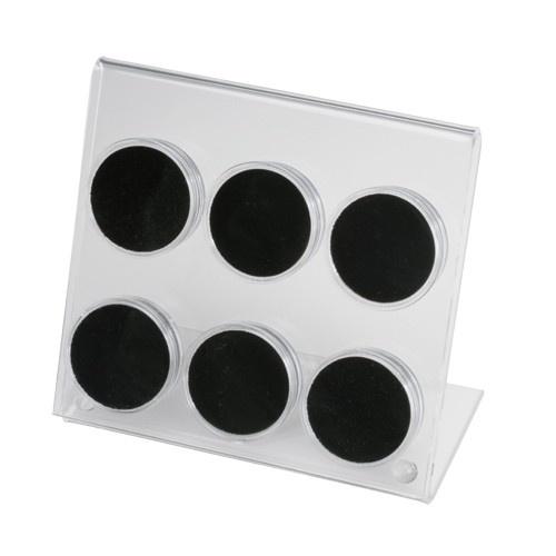 "6 Acrylic 1.75"" ø Gem Jars Inserts In Acrylic Easel"