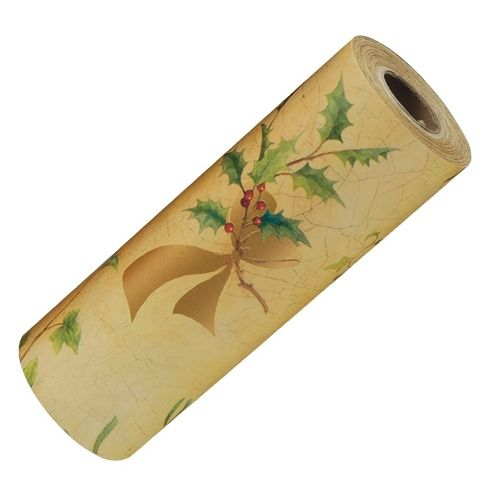 """Holly-themed Christmas Wrapping Paper, 100' L X 7.5"""" W"""
