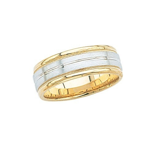 14K 2-Tone Gold Wedding W/ Light Milgrain & Airline Center 7 Mm