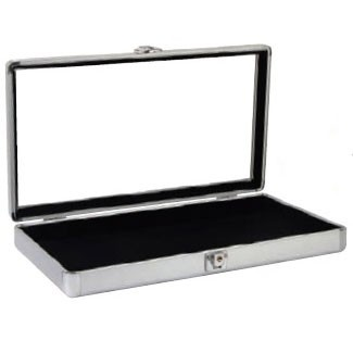 "Glass-Top Aluminum Utility Cases W/Snap Closure, 14.75"" L X 8.25"" w"