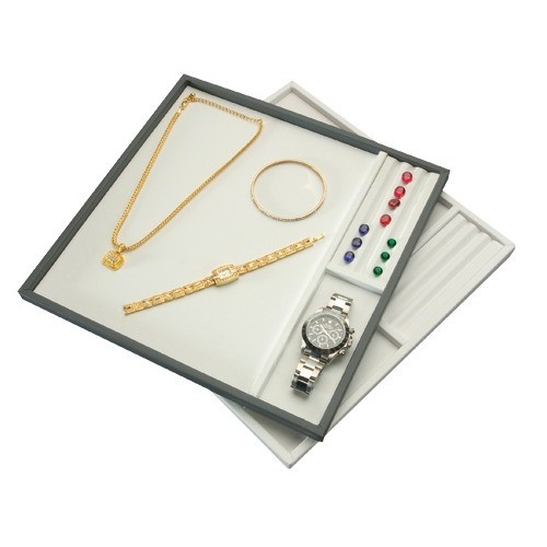 """3-compartment Gemstone & Jewelry Sorting Or Display Trays In Black & White, 11.5"""" L X 11.5"""" W"""