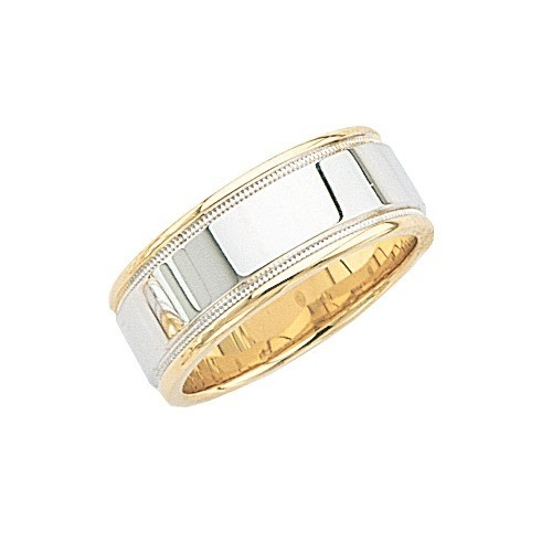 14K 2-Tone Gold Wedding Band W/ Light Milgrain 8.5 Mm