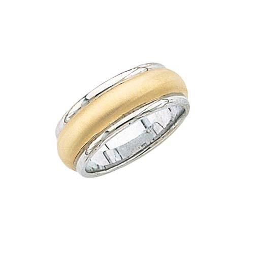 14K White Gold Wedding Band W/ Brushed Center & Milgrain 8 Mm
