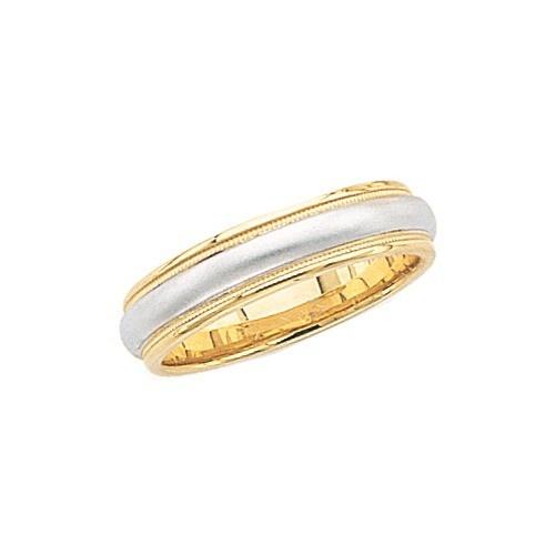 14K 2-Tone Gold Wedding Band W/ Milgrain & Brushed Center 6 Mm