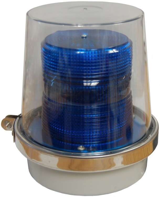 """Blue Strobe Light-w/marker Lts. Operates On 24vdc. Base Is Threaded For 1/2"""" Pipe Mount Can Be Used Outdoors."""