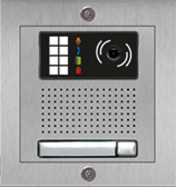 1-Button Color Ip Video Entry Add-On Panel: Surface-Mounted, Stainless Steel. For Use With The Ipplus Series System