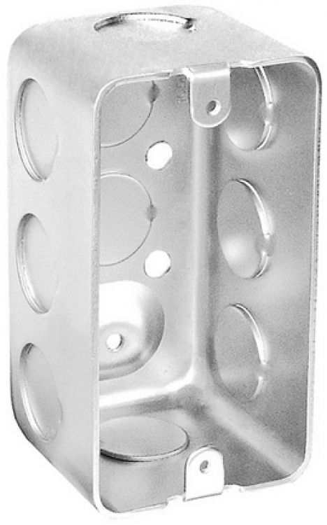 """1 Gang Elect. Handy Box-2.125"""". Galvanized Steel - Ul Listed- 2.125"""" Depth With 10- 1/2"""" Knockouts."""