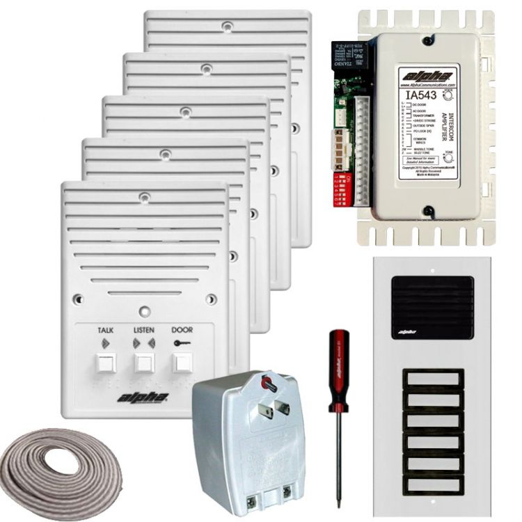 5- Unit Apt. Intercom Kit+Wire. Contains: 5- Is204a+ 1- Ia543 1- Es612/05 (+Box) + 1- Ss105b 1- S1 And 250' 4Prj (Coiled)