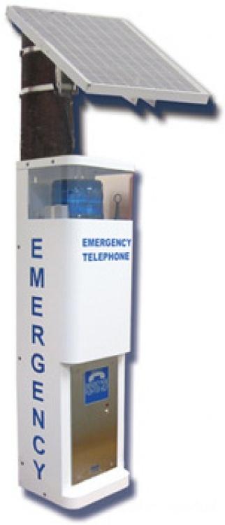 Call Stat.-landline--85w Solar. White Finish With Blue Beacon Strobe And 85 Watt Photocell Landline Phone Connection.