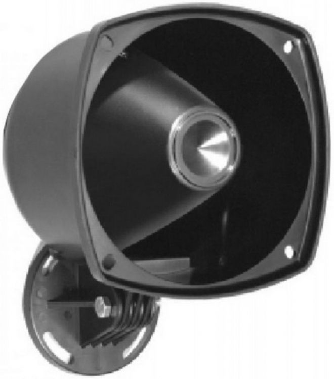 Drive-thru Horn-10 Watt-8 Ohms. Complete With Swivel Mounting Bracket Included. Finished In Black A.b.s. Plastic Finish.