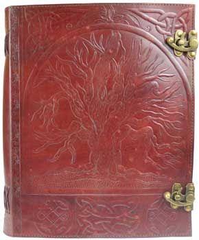 """10"""" X 13"""" Tree Leather Blank Book W/ Latch"""