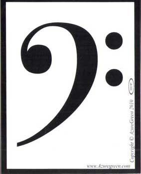 "Bass Clef Bumper Sticker 3 3/4"" X 3"""