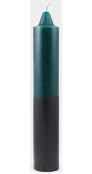 "9"" Green/ Black Pillar Candle"