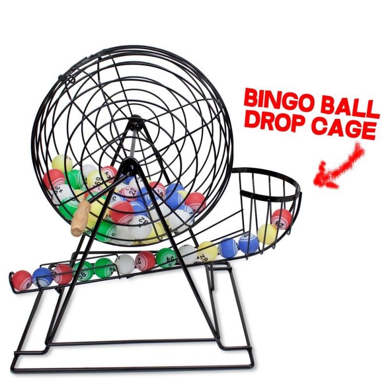 "Professional Bingo Set W/ 19"" Cage, 1.5"" Balls, & Wood Board"