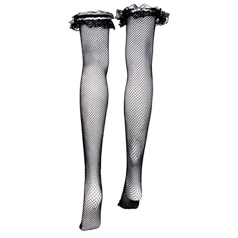 Black Fishnet Thigh High Costume Tights