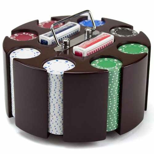 Suited Poker Chip Set In Wooden Carousel Retail Packaging