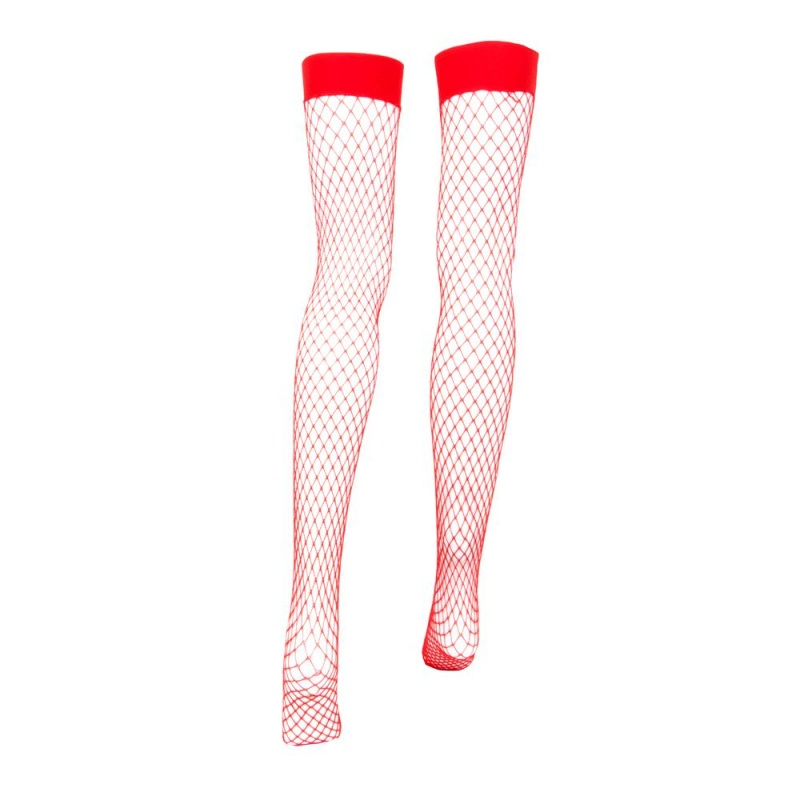 Red Fishnet Thigh High Costume Tights